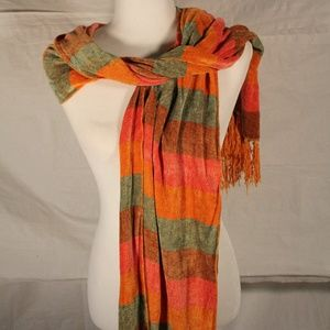 Soft DNY orange, red and brown striped scarf